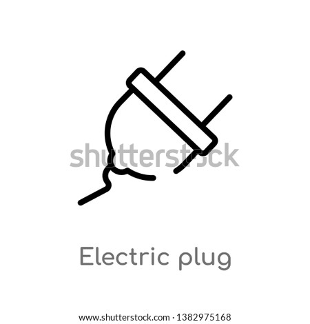 outline electric plug vector icon. isolated black simple line element illustration from general-1 concept. editable vector stroke electric plug icon on white background
