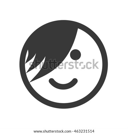 Outline emoticon, emoji isolated on white background, smiley face, emo person, vector illustration