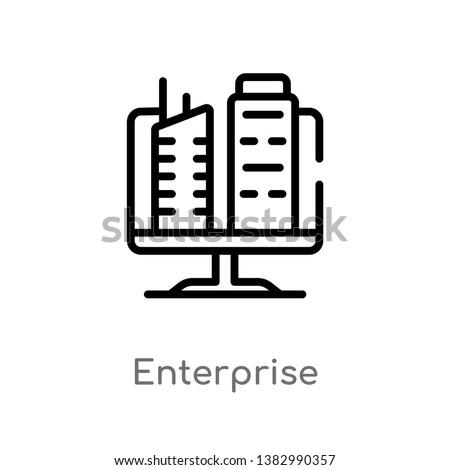 outline enterprise vector icon. isolated black simple line element illustration from marketing concept. editable vector stroke enterprise icon on white background Foto stock ©