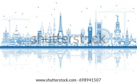 Outline Famous Landmarks in Europe with Reflections. Vector Illustration. Business Travel and Tourism Concept. Image for Presentation, Banner, Placard and Web Site.