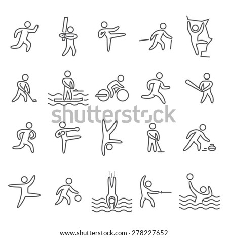 Outline figure athletes. Icons popular sports. Linear vector set. Running, cricket, hockey, baseball, rugby, kickboxing, acrobatics, dance, basketball and other.