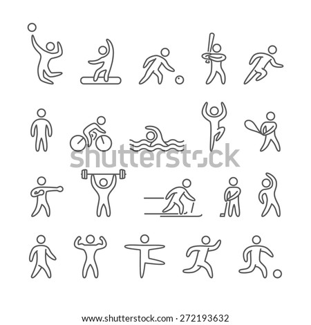 Outline figure athletes, popular sports