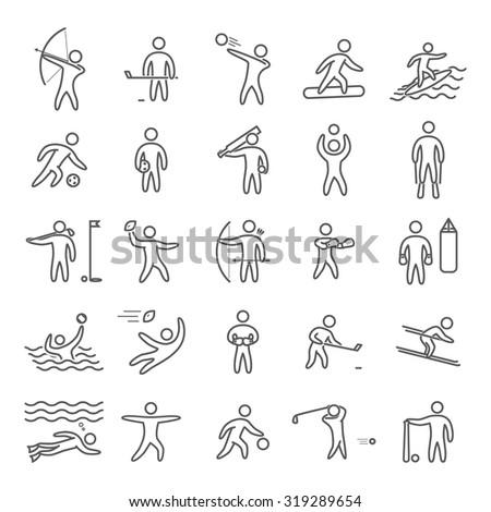 Outline figures of athletes popular sports. Line art sport icon set. Vector symbols.