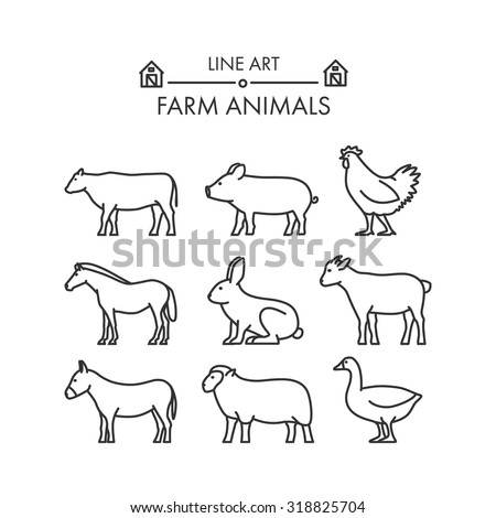 Outline figures of farm animals.