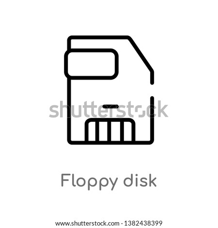 outline floppy disk vector icon. isolated black simple line element illustration from electronic stuff fill concept. editable vector stroke floppy disk icon on white background