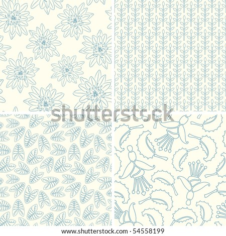 outline floral patterns in set