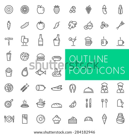 Outline food icons set for web and applications. Line icons of food, fruits and vegetables, drinks and fast food, meat and fish, confectionery and bakery, etc.