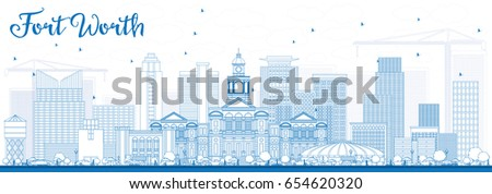 Outline Fort Worth Skyline with Blue Buildings. Vector Illustration. Business Travel and Tourism Concept with Modern Architecture. Image for Presentation Banner Placard and Web Site.