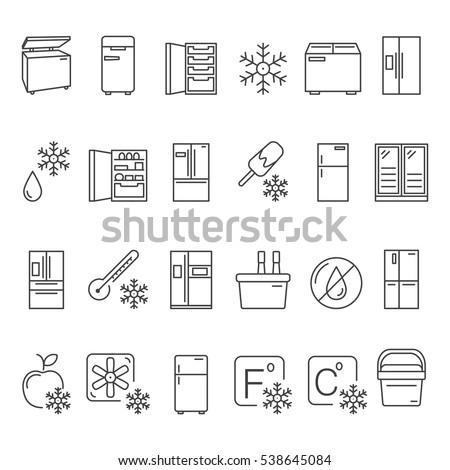 Outline Fridge Icons, Signs and Symbols Set. Kitchen Appliances,  Equipment, Freeze Refrigerator Line Vector Illustration. With Freezer, Portable Fridge, etc.