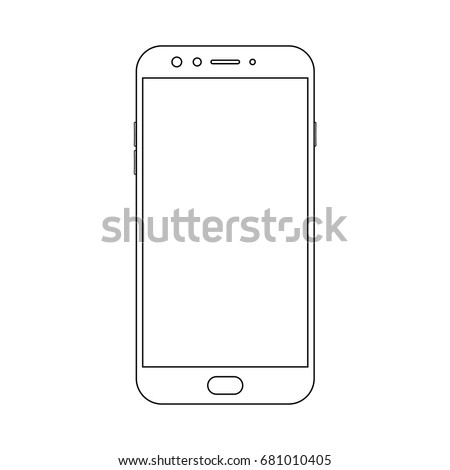 Outline front view samsung smartphone with power and menu buttons, camera and empty screen on white background. Outline smartphone vector eps10.