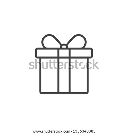 Outline gift box icon,linear style pictogram,present symbol isolated on white background.