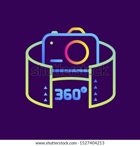 Outline gradient icon 360 camera. Virtual and augmented reality gadgets. Suitable for presentation, mobile apps, website, interfaces and print