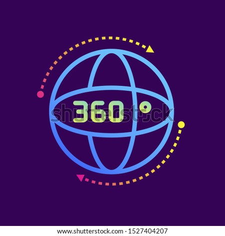 Outline gradient icon 360 degree view. Virtual and augmented reality gadgets. Suitable for presentation, mobile apps, website, interfaces and print