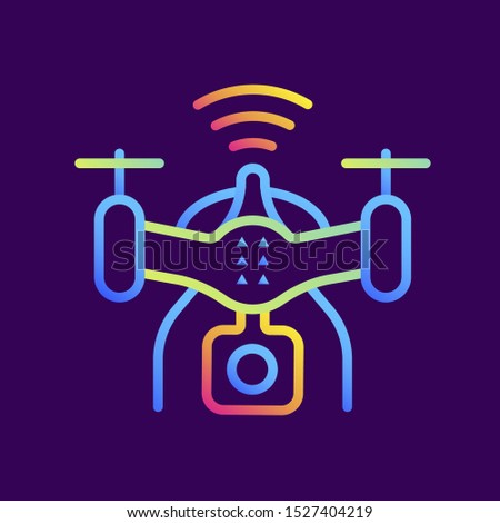 Outline gradient icon Drone. Virtual and augmented reality gadgets. Suitable for presentation, mobile apps, website, interfaces and print