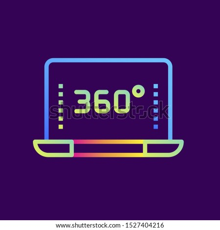Outline gradient icon 360 video. Virtual and augmented reality gadgets. Suitable for presentation, mobile apps, website, interfaces and print