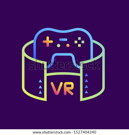 Outline gradient icon VR gaming. Virtual and augmented reality gadgets. Suitable for presentation, mobile apps, website, interfaces and print