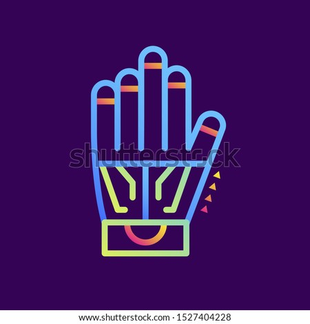 Outline gradient icon Wired glove. Virtual and augmented reality gadgets. Suitable for presentation, mobile apps, website, interfaces and print