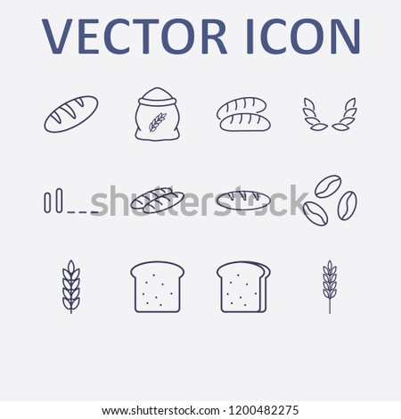 Outline 12 grain icon set. bread, flour, spike, coffee bean, wheat and signal bars vector illustration
