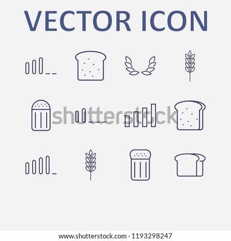 Outline 12 grain icon set. bread, signal bars, salt, wheat and spike vector illustration