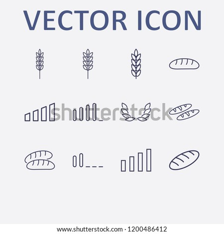 Outline 12 grain icon set. signal bars, bread, spike and wheat vector illustration