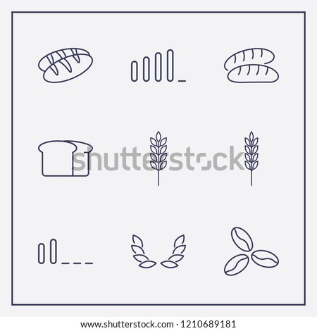 Outline 9 grain icon set. signal bars, coffee bean, bread and spike vector illustration