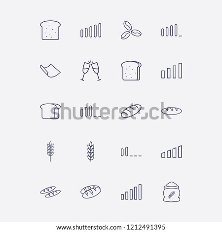 Outline 20 grain icon set. spike, coffee bean, toast, paper, bread and flour vector illustration