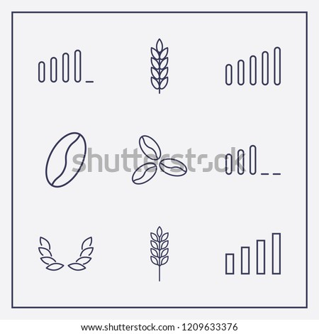 Outline 9 grain icon set. spike, signal bars, wheat and coffee bean vector illustration