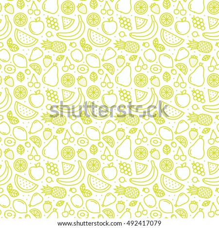 Outline graphic style fruits and berries seamless vector pattern