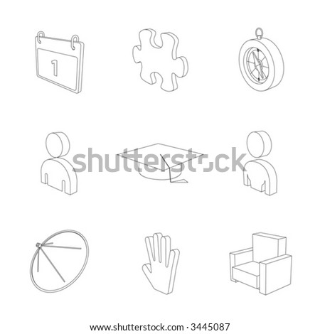 outline gray 3d icon set 05