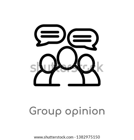 outline group opinion vector icon. isolated black simple line element illustration from general-1 concept. editable vector stroke group opinion icon on white background