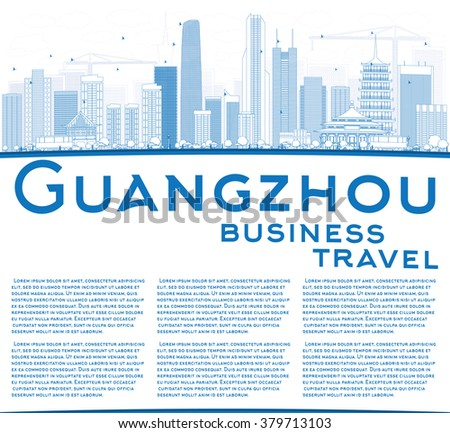 outline guangzhou skyline with