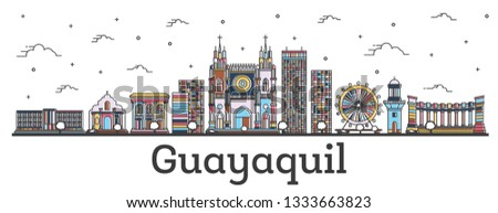 Outline Guayaquil Ecuador City Skyline with Color Buildings Isolated on White. Vector Illustration. Guayaquil Cityscape with Landmarks.