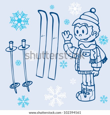 outline hand drawn cartoon illustration of a little boy, pair of skies and snowflakes on blue