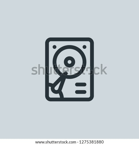 Outline hard disk vector icon. Hard disk illustration for web, mobile apps, design. Hard disk vector symbol.