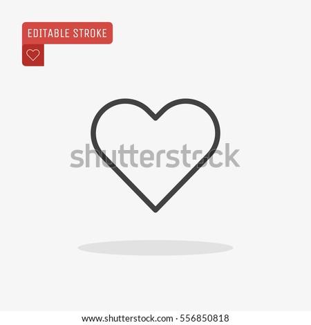 Outline heart icon isolated on grey background. Line love symbol for website design, mobile application, logo, ui. Editable stroke. Vector illustration. Eps10.