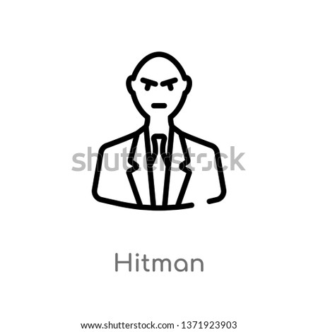 outline hitman vector icon