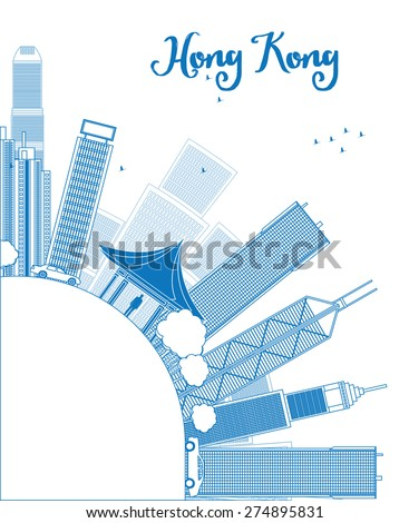 outline hong kong skyline with