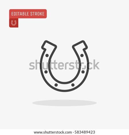 Outline Horseshoe Icon isolated on grey background for website design, mobile application, logo, ui. Editable stroke. Vector illustration. Eps10.