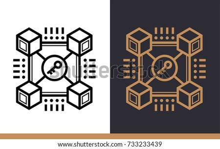 Outline Icon Blockchain Technology Data Science And Machine Learning Process Suitable For Print