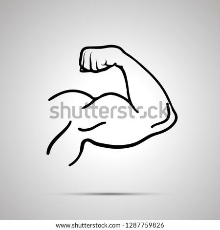 Outline icon of bodybuilder arm with strong biceps on gray