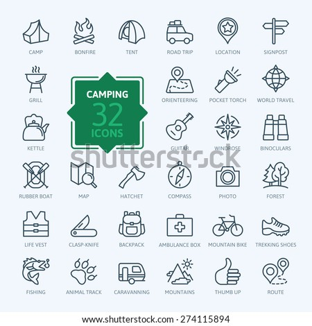 Outline icon set - summer camping, outdoor, travel.
