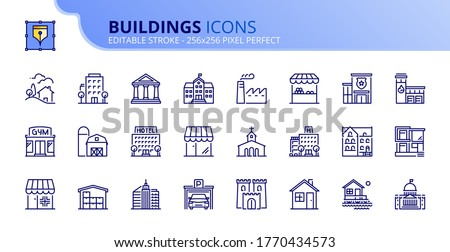 outline icons about buildings