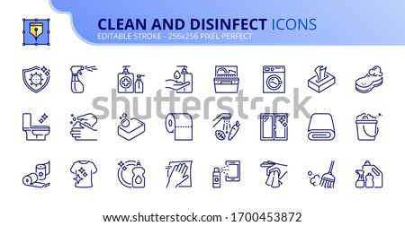 Outline icons about clean and disinfect.  Contains such icons as cleaning and sanitizer products, clean surfaces, clothes, food and hands. Editable stroke. Vector - 256x256 pixel perfect.