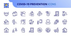 Outline icons about Coronavirus prevention.  Clean and disinfect, sanitizer products, wash your hands, wear mask and social distancing. Editable stroke. Vector - 256x256 pixel perfect.