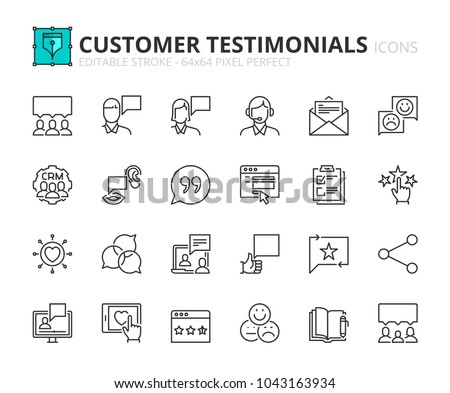 Outline icons about customer testimonials. Editable stroke. 64x64 pixel perfect.