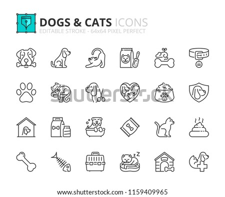 Outline icons about dogs and cats. Pets. Editable stroke. 64x64 pixel perfect.