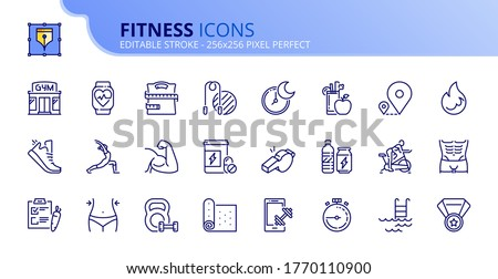 outline icons about fitness