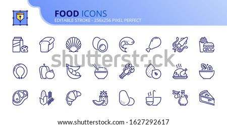 Outline icons about food. Fruit and vegetables. Protein, meat, seafood, dairy, nuts, eggs and legumes. Grain. Fast food, desserts and sugar products. Editable stroke. Vector - 256x256 pixel perfect.