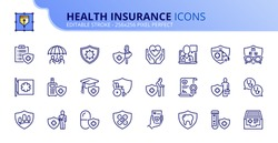 Outline icons about health insurance. Contains such icons as family protection, accident, vision and dental insurance, diagnostic and hospitalization. Editable stroke Vector 256x256 pixel perfect