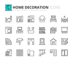 Outline icons about home decoration. Editable stroke. 64x64 pixel perfect.